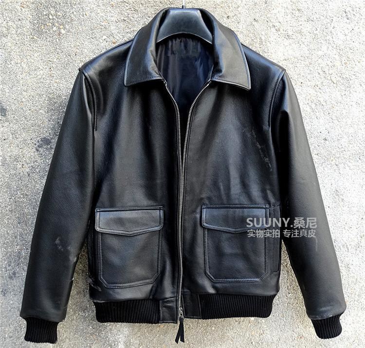 Free Shipping 2015 New Men Leather Jacket Black Turn-down Collar 100% Genuine Cow Skin Leather Men A2 Air Force Flight Jacket(China (Mainland))