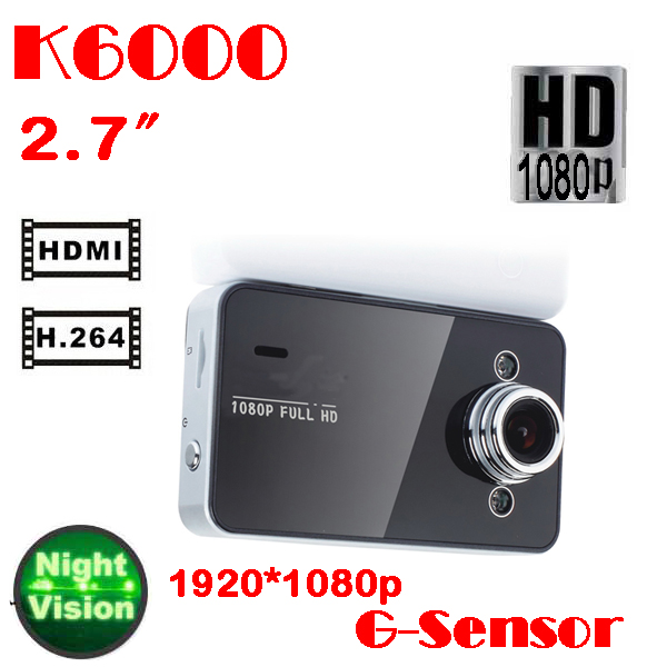 by dhl or ems 100 pieces Novatek K6000 Full HD Car DVR 1080p 2.7' Video Recorders Mini Camera G-Sensor Night Vision hdmi cable(China (Mainland))