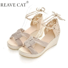Big size 35-43 Lace Women Sandals Cutout  ankle buckle Strap Wedge shoes Ruffles Summer Black Beige Wedges Knot(China (Mainland))
