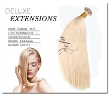 blonde russian remy i tip hair extensions 16 20 24inch 613#  u/I tip hair extension keratin hair extensions capsules (China (Mainland))