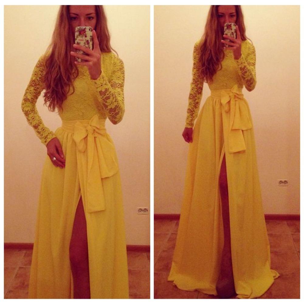 Elegant Yellow Lace Long Evening Party Prom Dresses Vestido Longo Slit Women Winter long sleeve Formal Gown Maxi Dress Vestidos - AGEL store