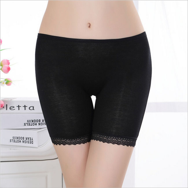 1 piece bamboo fiber women's safety pants women lace boxer briefs Boyshort medium waist underwear for ladies 3 colors(China (Mainland))