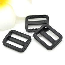 "50pcs/lot 1"" Black Plastic Slider Tri Glide Adjustable Buckles Webbing Size 25mm(China (Mainland))"