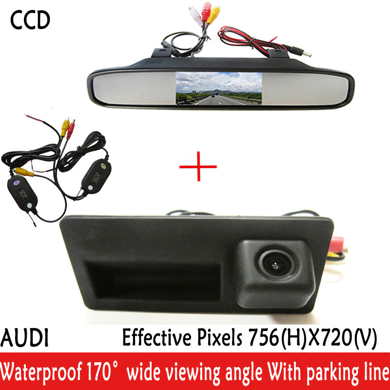 Night Vision 170 Wide view Angle waterproof HD Handle CCD Car Rear View Reverse parking Camera for Audi A4 A6 A8L S5 Q3 Q5<br><br>Aliexpress
