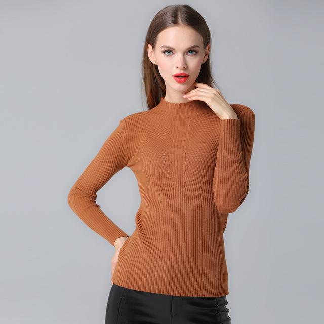 Новое поступление зима осень качество чистого цвета дна вязаный свитер пуловер женщины ...