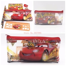 10 Sets Fashion Cars School & Office 7 IN 1 Pencil Bag Pencils Ruler Netbook Eraser Toys & Hobbies Pencils Writing Supplies(China (Mainland))