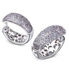 Elegant Jewelery New Girlfriend Gift Fashion Hoop Earrings for Women Platinum Made with AAA Cubic Zirconia Lead Free Nickel Free(China (Mainland))