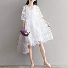 Buy Women summer Dress White Color High Waist Embroidery Lace Mori Girl Chiffon Dress Half O Neck Two Pieces Plus Size Dresses for $23.92 in AliExpress store