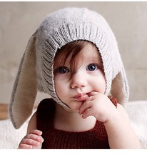 2015 New Arrival Autumn Ins Oeuf Nyc Baby Boys Girl's Cap Lovely Rabbit Long Ear Hats Knitted Crochet Headgear Soft Warm 0-4Y(China (Mainland))