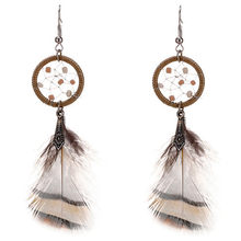 2018 Leaf leaves tassel earrings women Traditional qualitative eardrop contracted fashion girl leather yellow earrings wholesale(China)