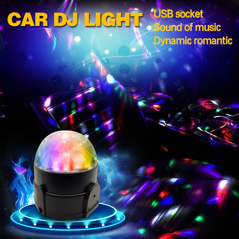 car led music lights dj mini rgb 6w led mp3 club disco party crystal magic ball stage effect. Black Bedroom Furniture Sets. Home Design Ideas