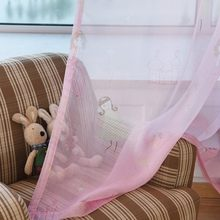 Pink Tulle Girls Curtains Window Screening Sheer Voile Cortinas For Living Room Princess Princess Curtains Girls Room WP139-30(China)