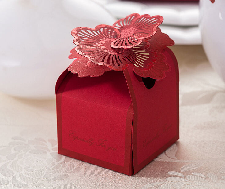 Wedding Candy Bag Red Flower Bride And Groom Packaging ...