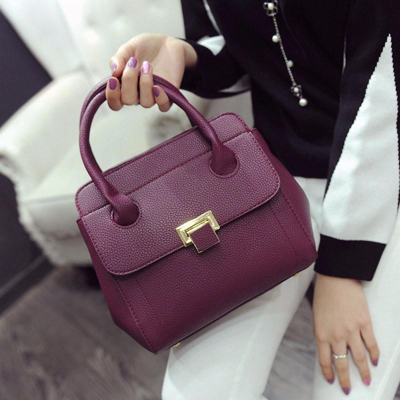 Retro Classy Hand Bag Female Embossing Ladylike Handbag Women Black Purple PU Vintage Single Shoulder Lady Small Crossbody Bag