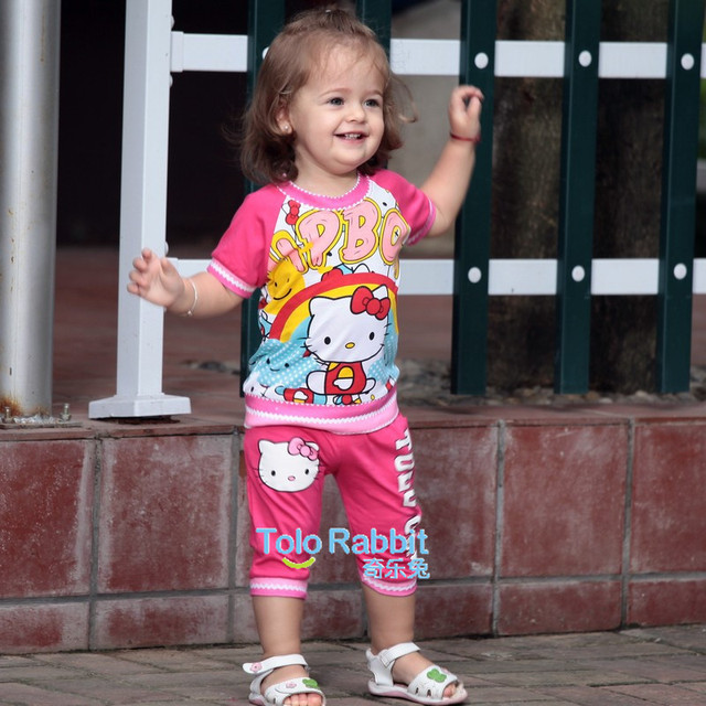1PCS Free Shipping Rose / Red Children Summer Wear Garment Decorated by Hello Kitty Cute Cartoon Two-Pieces Clothes Set Online