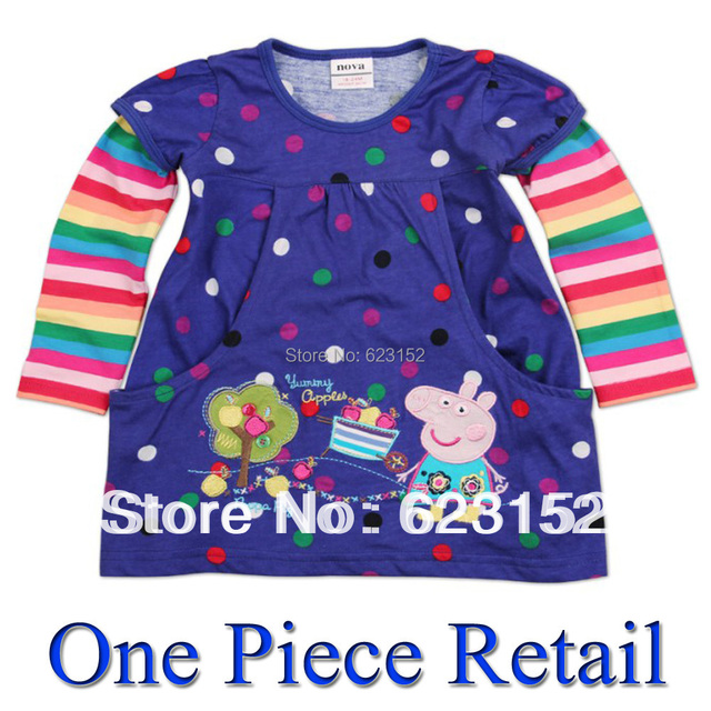 FREE SHIPPING F2178# Girls T-shirt Girl Clothes Kids Peppa Pig Clothing Long Sleeve Tunic for Autumn Hot sale Kids Top