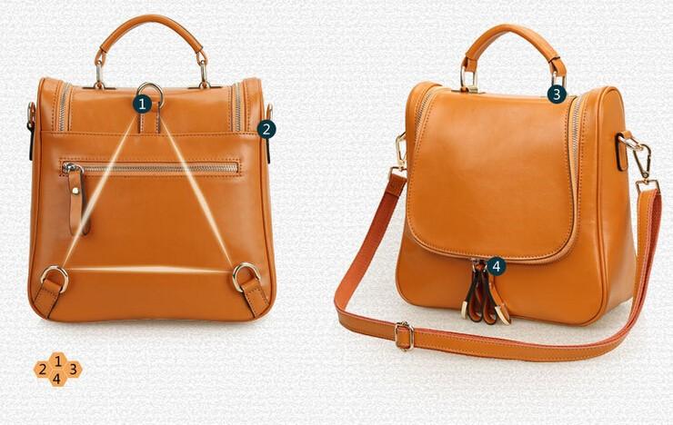 The New Leather Handbag Summer Money Oil Wax Cowhide Multi-purpose
