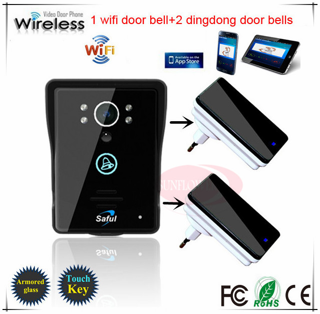Support Android IOS App Wireless WiFi Video Door Phone intercom Doorbell with night vision + 2 inner door bells free shipping(China (Mainland))