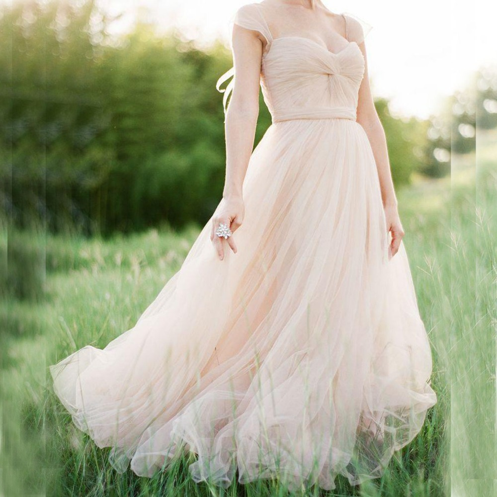 Buy gorgeous tulle wedding dress in blush for Simple pink wedding dress