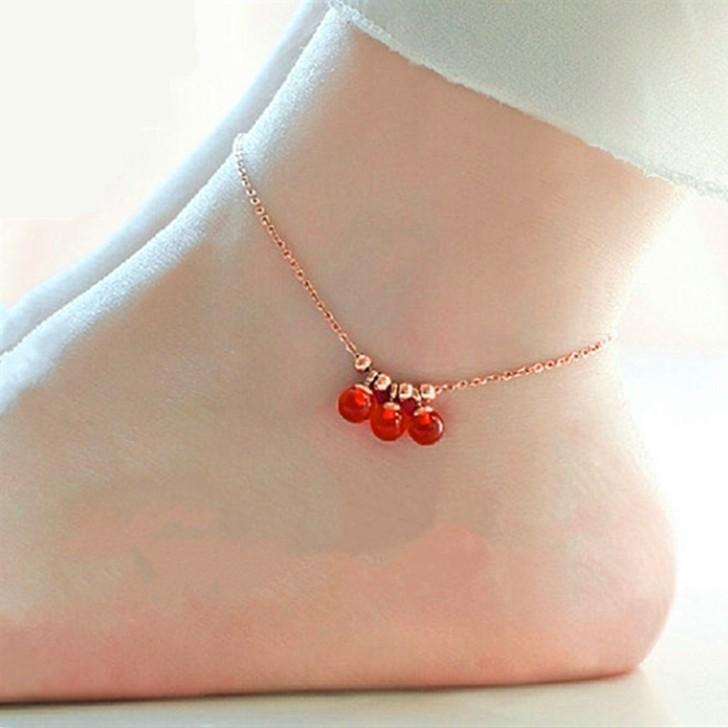 Высокое качество 18KGP розового золота титана стали лаки кисточкой колокола ножной браслет мода марка украшения для женщин браслет ног