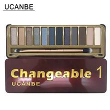 UCANBE Brand Naked Makeup Changeble 1 Eye Shadow Palette 12 Colors Smoky Eyeshadow with Brush Matte Cosmetics Make up Set