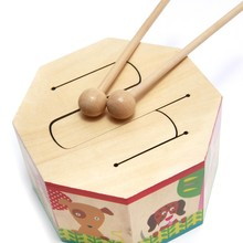 Baby Wooden Drum Toys With Two Mallets Early Learning Educational Musical Percussion Instruments Toys For Kids Children(China (Mainland))