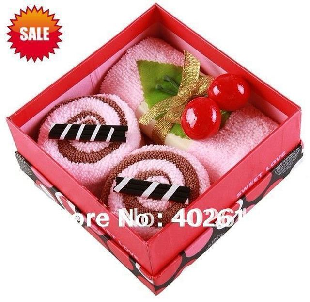 Hot sale gift box, cake towel, wedding gifts,christmas gifts,100%cotton, 6 pcs/ box inner,solid color, free shipping