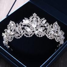 2018 New Fashion Baroque Luxury Crystal AB Bridal Crown Tiaras Light Gold Diadem Tiaras for Women Bride Wedding Hair Accessories(China)
