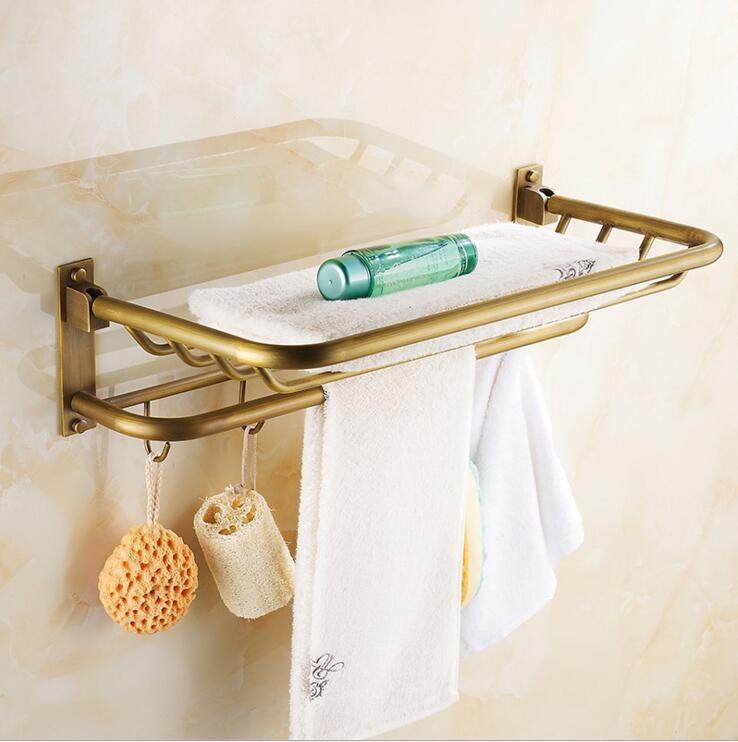 Фотография European luxury antique full copper folded towel rack towel rack bathroom toilet Continental Shelf with 5 hooks free shipping