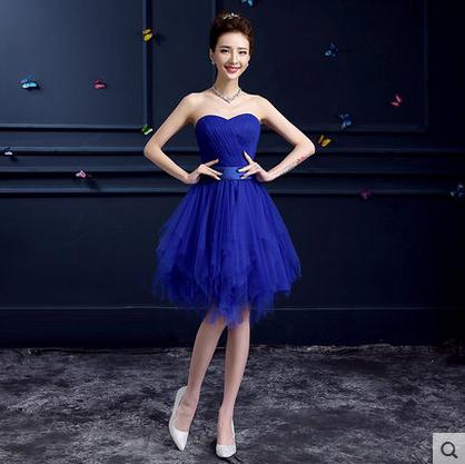 Royal Blue Bridesmaid Dress Short Sweetheart Pleat Knee Length ...