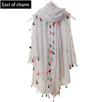 Beach Fashion 2015 New Spring Summer Pure Color Voile Scarf Women Tassel Scarf Wrap Shawl and Scarf For Women cachecol feminino