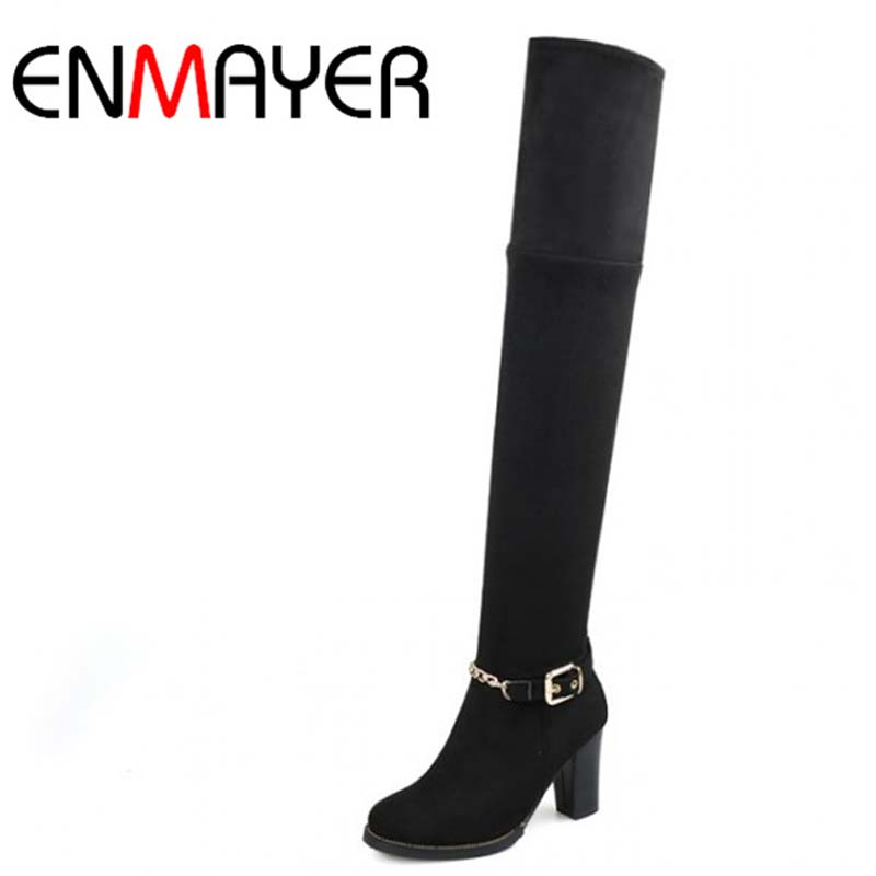 ENMAYER Round Toe Chains Square heel High Boots For Women New Hot Fashion Zip Over-the-Knee Boots Flock  Big Size 43 Long Boots<br><br>Aliexpress