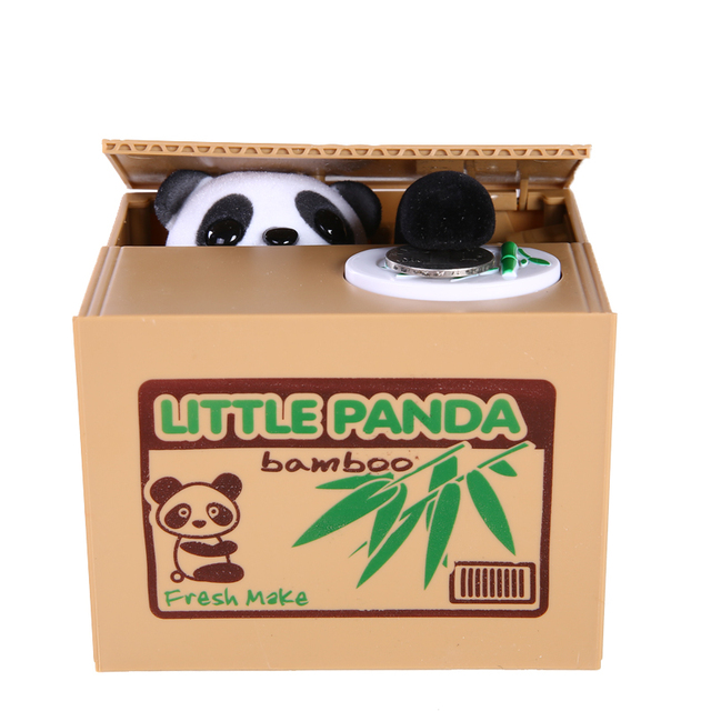 Mischief Saving Box Little Panda Saving Box Toy Funny Saving Box Animals Panda Automatic Electric Stole Coin Piggy Bank As Gift