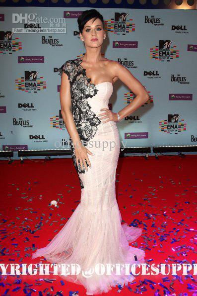 New Style One Shoulder Applique Sheath red carpet dresses celebrity Dresses END197
