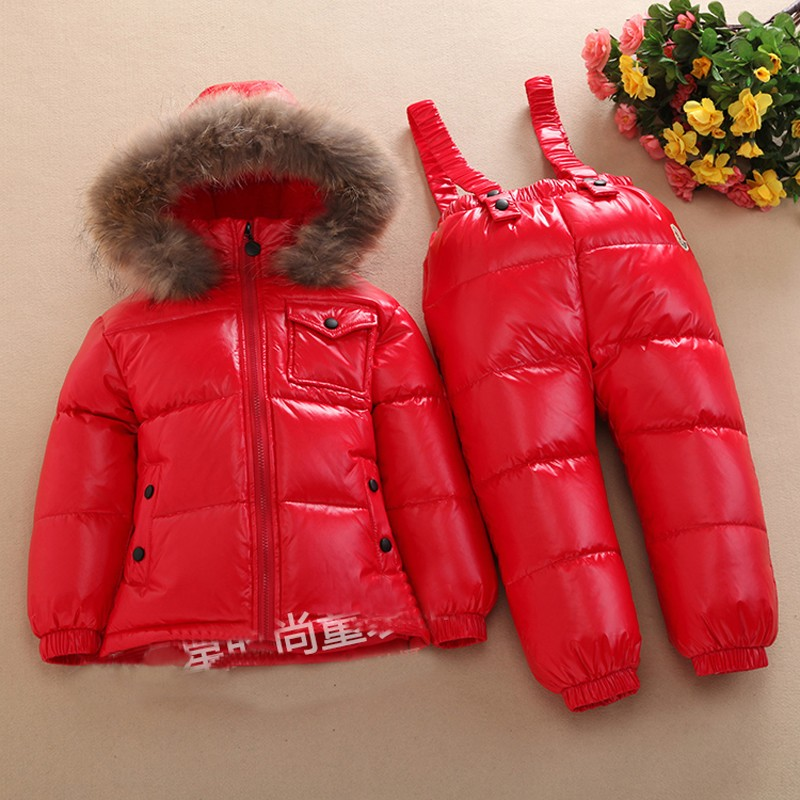 Скидки на Дети комбинезоны зимняя одежда Установить девушки Лыжный костюм утолщаются хлопка пальто теплые шубы куртки + брюки комбинезоны