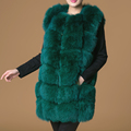 Real fur fox vest women s short style O neck slim winter army green fashion super