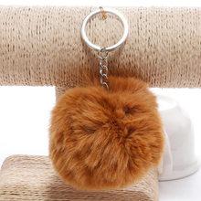 Simples chaveiro de pele bola pompom pompom artificial coelho pele animal chaveiros para a mulher saco do carro chaveiro 14 cores(China)