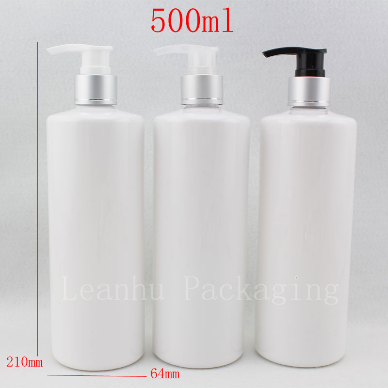 500ml X 12 empty white cosmetic PET bottle aluminum cream lotion pump cap packing ,soap dispenser plastic - Packaging E shop store