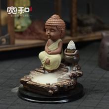Ceramic incense burner backflow censer zen boundary flow smoked incense burner Promote the new mini monk incense burner(China (Mainland))