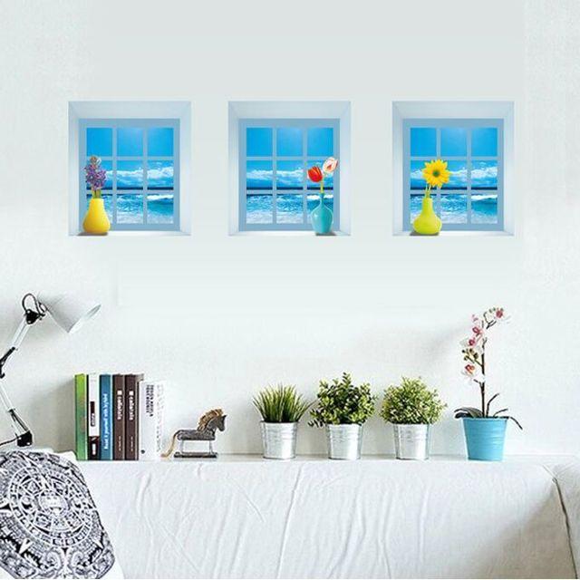 Romantic Windowsill Vase 3d Simulation Removable Wall