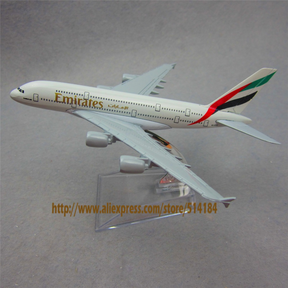16cm Solid Alloy Metal Air Emirates A380 Airlines Airplane Model Airbus 380 Airways Plane Model w Stand Aircarft Toy Gift(China (Mainland))