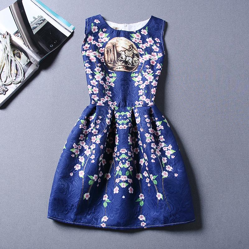Will the big European and American stamp sleeveless slim vest dress retro peach bottom dress(China (Mainland))