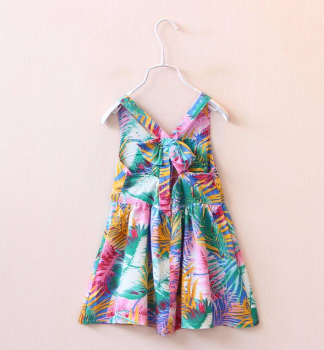 2 Color Summer Childrens Dress Girls baby Bowknot backless printed vest dress Bohemia princess Dresses wholesale<br><br>Aliexpress