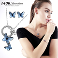 T400 trendy made with swarovski elements crystal necklace and earrings set for women Butterfly bjioux 1780