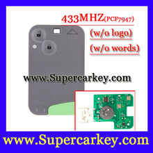 Envío gratis ( 1 unids ) 2 botón dominante elegante 433 MHZ para Renault Laguna espace tarjeta con chip pcf7947 y llave de emergencia(China (Mainland))