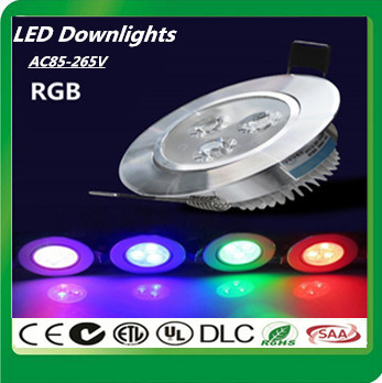 20X High quality LED Downlight Embedded AC85-265V 9W RGB LED Ceiling Downlight + Remote control LED Ceiling Lamp Free shipping(China (Mainland))