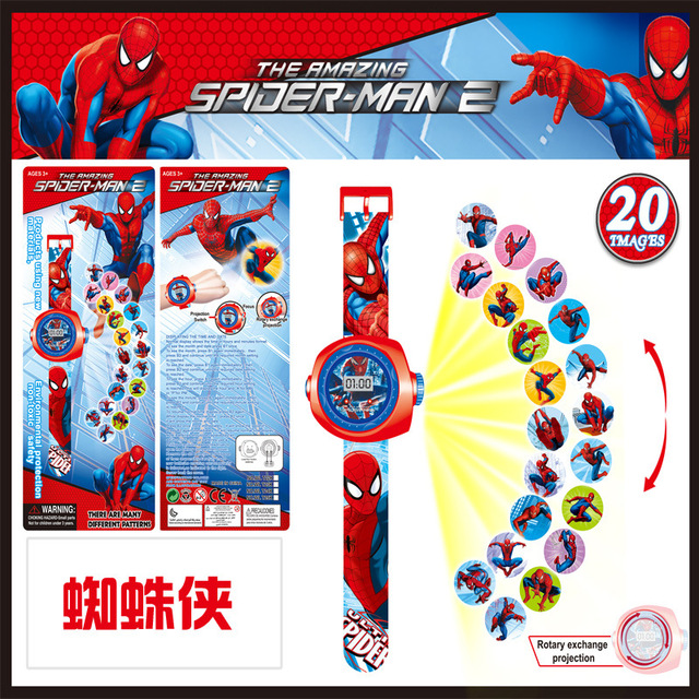 23cm Multi Style Cartoon Projection 3D 20 Projection Pikachu Doraemon Toy Electronic Watch 24 Images Avengers Spider Man Watch