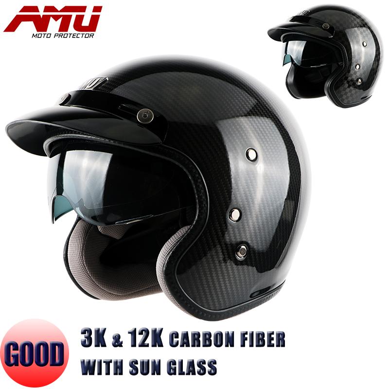 Free shipping, AMU Black Carbon Fiber Open face 3/4 Motorcycle motorcross helmet Casco,Jet Vintage Retro helmet,inner visor, ECE
