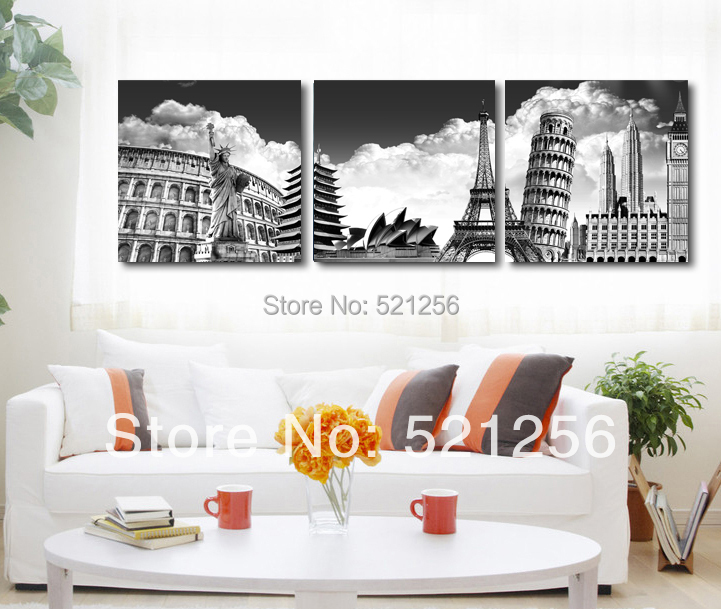 3 piece free shipping home decoration wall art printed canvas oil painting picture paris new Home decor wall decor australia