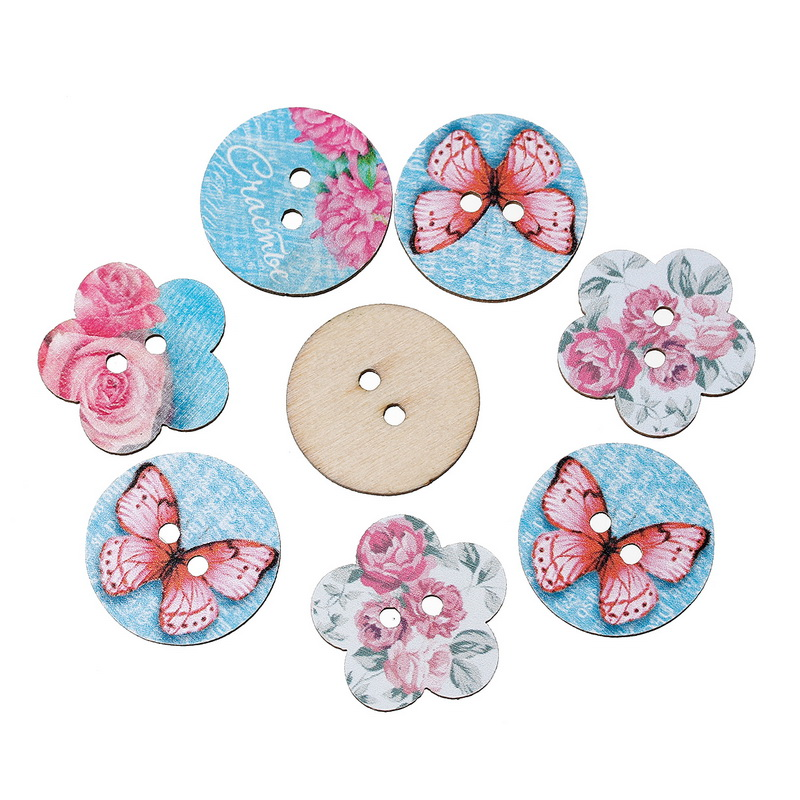 Blue Flowers & Butterfly Pattern 2 Holes Wood Sewing Buttons 25x24mm-24mm Dia Decorative Scrapbooking Supplies 50PCs(China (Mainland))